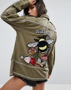 Куртка с вышивкой пчелы ASOS - Зеленый