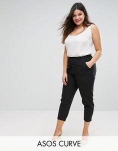 Укороченные креповые брюки-сигареты ASOS CURVE - Черный