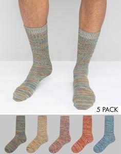 Набор из 5 пар толстых носков в рубчик ASOS - Мульти