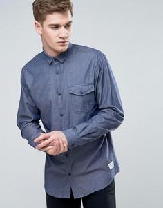 Узкая рубашка из шамбре с длинными рукавами и планкой на пуговицах Jack & Jones Core - Черный
