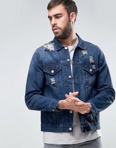 Джинсовая куртка с потертой и рваной отделкой Dead Vintage - Синий