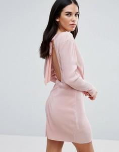 Плиссированное платье с запахом и длинными рукавами Love & Other Things - Розовый