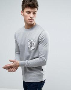 Свитшот с круглым вырезом и принтом на кармане Jack & Jones Originals - Серый