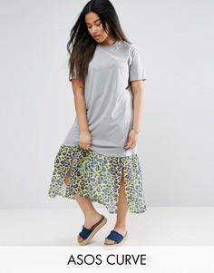 Платье-футболка миди с леопардовым принтом на вставке ASOS CURVE - Мульти