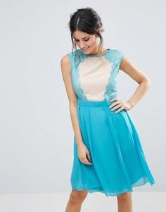 Короткое приталенное платье с кружевными вставками Little Mistress - Мульти