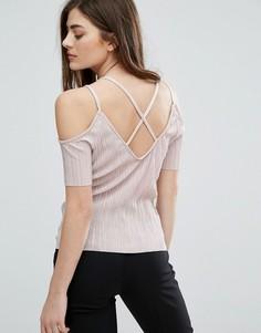 Плиссированный топ с открытыми плечами New Look - Розовый