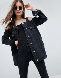 Черная выбеленная джинсовая куртка с открытыми плечами ASOS - Черный