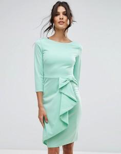 Платье миди с рукавом 3/4 и каскадной баской City Goddess - Зеленый