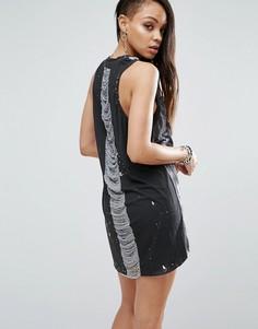 Платье-комбинация с принтом Religion - Черный