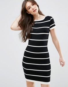 Платье в полоску с короткими рукавами QED London - Черный