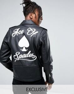 Кожаная куртка с принтом на спине Reclaimed Vintage Inspired - Черный