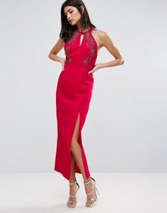 Платье-футляр с разрезом сбоку Little Mistress - Розовый