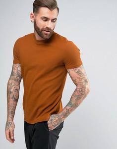 Светло-коричневая фактурная футболка из вафельной ткани ASOS - Коричневый
