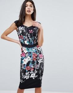 Платье-футляр с широким вырезом и цветочным принтом Little Mistress - Мульти