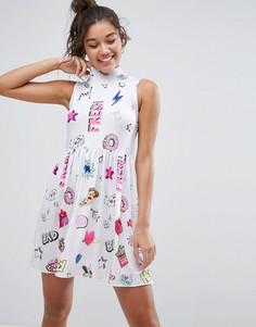 Свободное платье мини без рукавов с принтом ASOS - Мульти