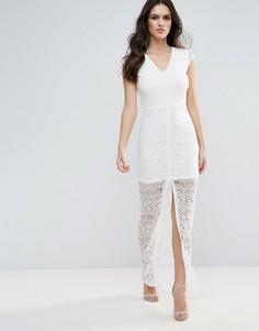 Кружевное платье макси Ax Paris - Кремовый