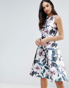 Приталенное платье длины миди с цветочным принтом AX Paris - Кремовый