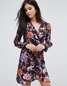 Платье с длинными рукавами, запахом и принтом Love - Черный