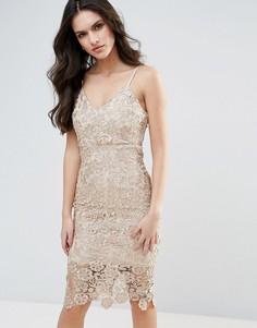 Кружевное платье-футляр Ax Paris - Золотой