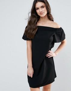 Цельнокройное платье-бандо с оборками Ax Paris - Черный