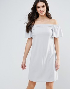 Цельнокройное платье-бандо с оборками Ax Paris - Серый