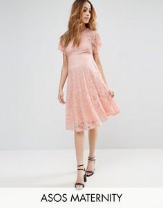 Кружевное платье с рукавами клеш ASOS Maternity - Розовый