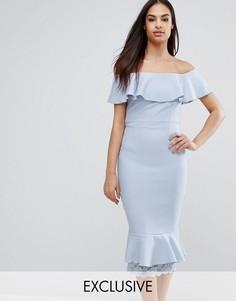 Платье-футляр с открытыми плечами, оборками и кружевом Vesper - Фиолетовый