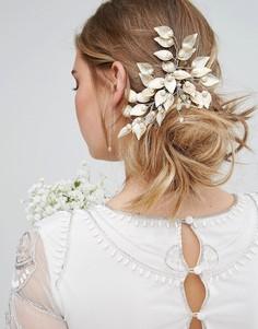 Гребень для волос с листьями и искусственным жемчугом Love Rocks - Золотой