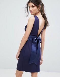 Платье миди с запахом на юбке и бантом на спине Closet London - Темно-синий