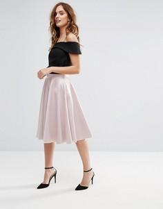 Атласная юбка миди Closet - Розовый