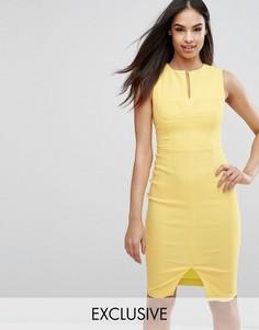 Структурированное платье-футляр с декоративными швами Vesper - Желтый