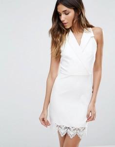 Платье в стиле блейзера с отделкой кроше Girls On Film - Белый