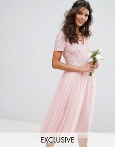 Платье миди с V-образным вырезом с пайетками и юбкой из тюля Maya - Розовый