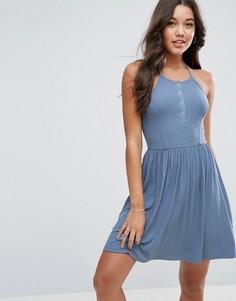 Свободное платье мини с кнопками ASOS - Синий