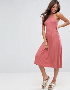 Свободное платье миди с кнопками ASOS - Розовый