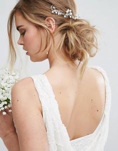 Драпированная заколка для волос в форме цветка Love Rocks - Серебряный