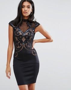 Облегающее платье с сетчатыми вставками Lipsy - Черный