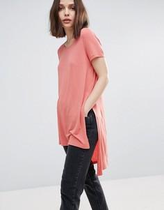 Длинная футболка с разрезами Only Jewel - Розовый