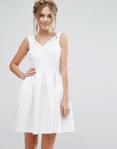 Жаккардовое платье для выпускного Closet London - Белый