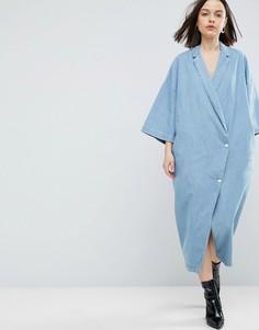 Светло-синее джинсовое платье-кимоно на пуговицах ASOS WHITE - Синий