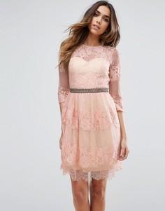 Платье мини с кружевом Little Mistress - Розовый