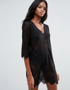 Платье с ажурной вставкой First & I - Черный