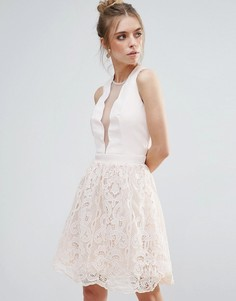 Ажурное платье мини с фигурной отделкой по краю Little Mistress - Розовый