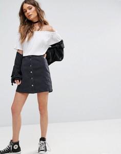 Джинсовая юбка на пуговицах New Look - Черный