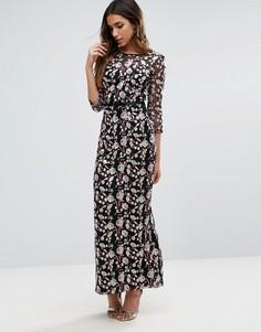 Платье макси с цветочной вышивкой Litte Mistress - Черный
