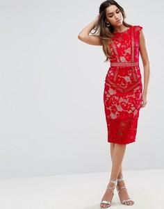 Платье миди с кружевной вставкой Little Mistress - Красный