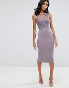 Платье миди с кружевной отделкой и вышивкой Little Mistresss - Серый