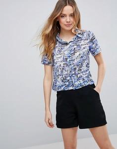 Свободная футболка с принтом Neon Rose - Мульти