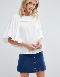 Однотонная блузка с драпированными рукавами Only - Белый
