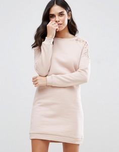 Платье с кружевной отделкой рукавов Vila - Розовый